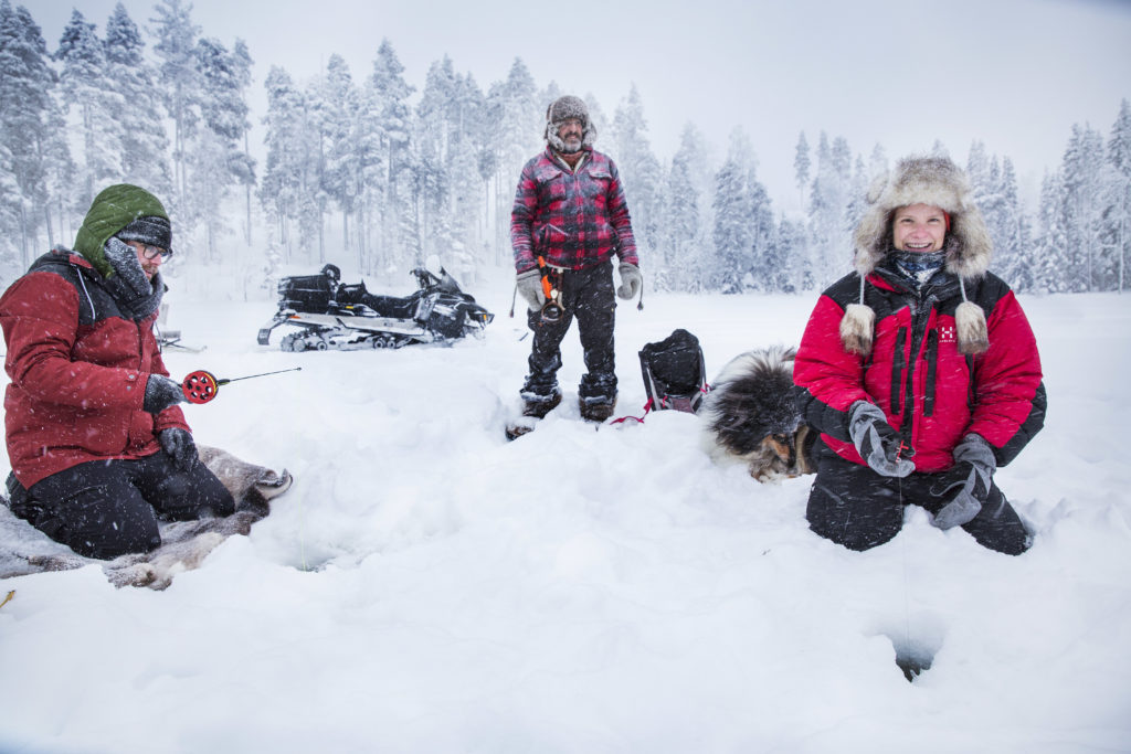 ice-fishing during activity holidays in lapland