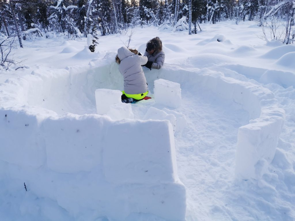 survival igloo in Lapland